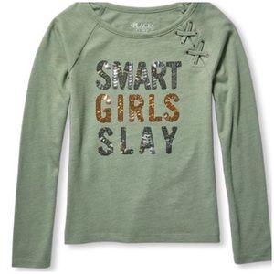 NWT Green Smart Girls Slay L/S  Lace Up Top Small